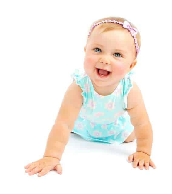 Baby girl with 4 letter girls names smiling