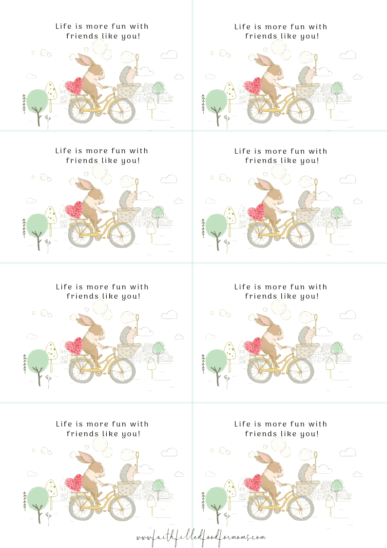 8 printable cards with rabbit and hedgehog friends on a bike