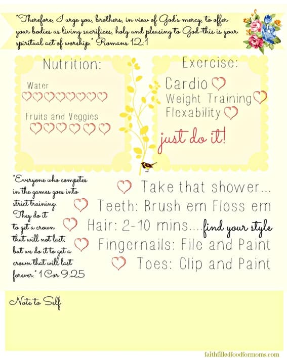 Self Care Printable for Women's Health