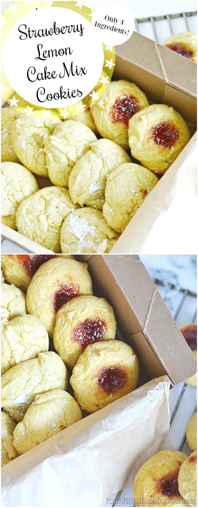 Simple Lemon Strawberry Cake Mix Cookies