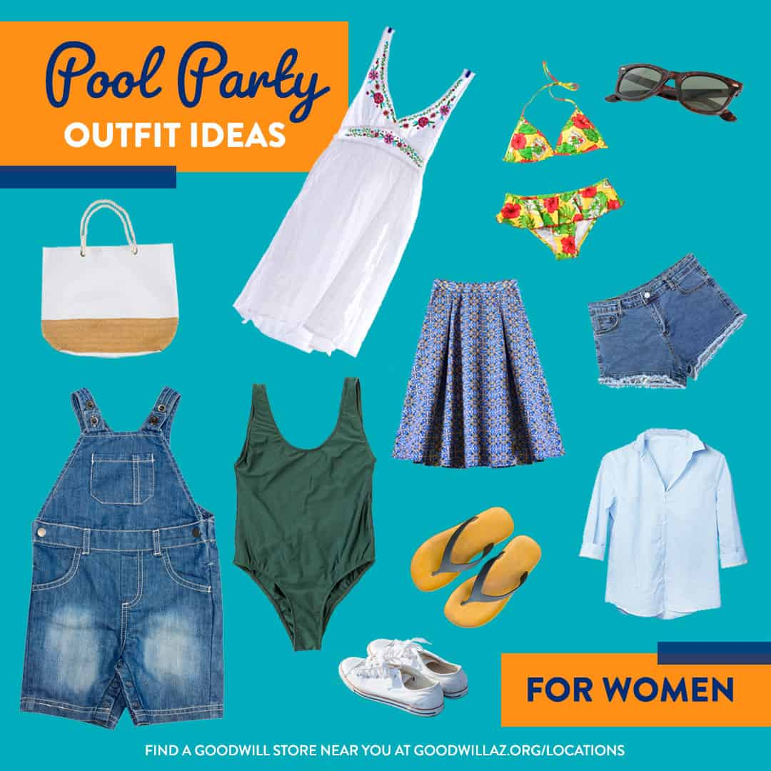 pool party thrift store outfit ideas