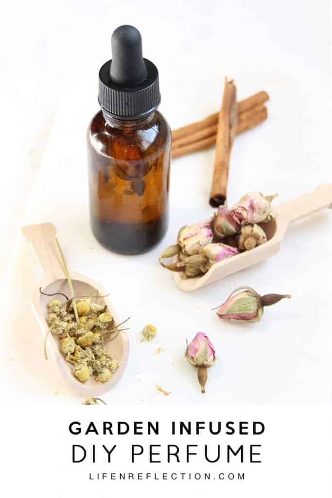 Ingredients to make your own perfume with flowers and essential oils.