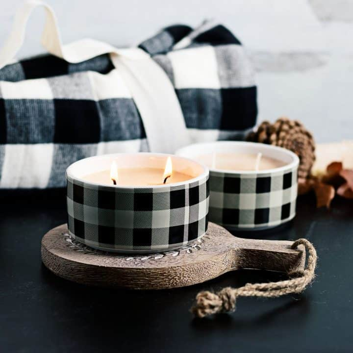 Follow our step by step candle making instructions for pumpkin pie double wick candle a creative twist on a Thanksgiving classic. You and your guest will love these inexpensive Thanksgiving table decorations.