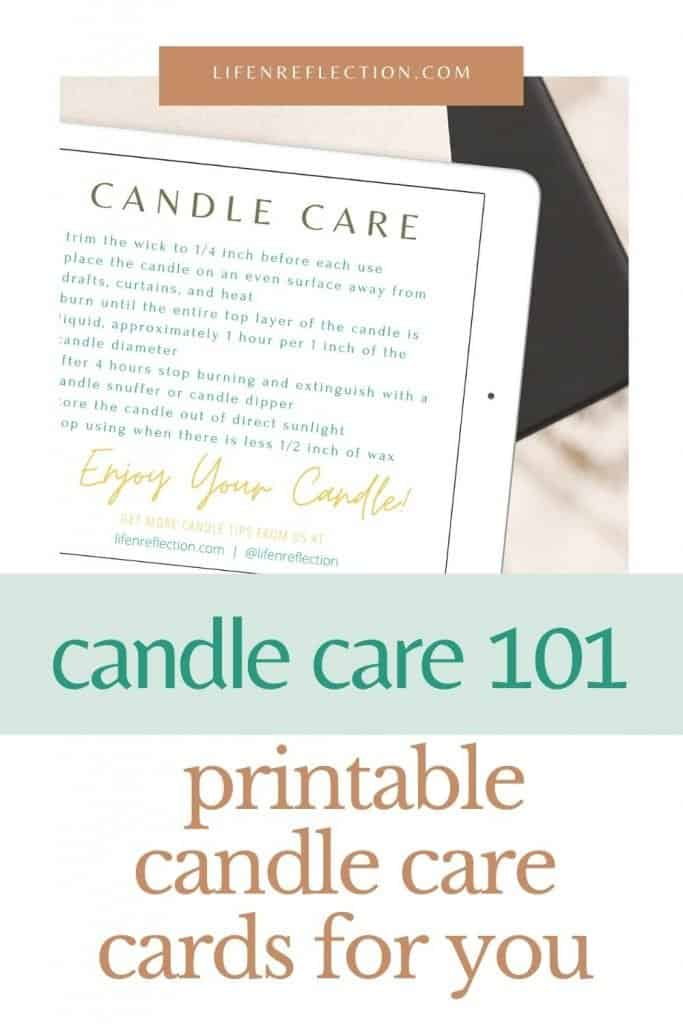 printable candle care cards