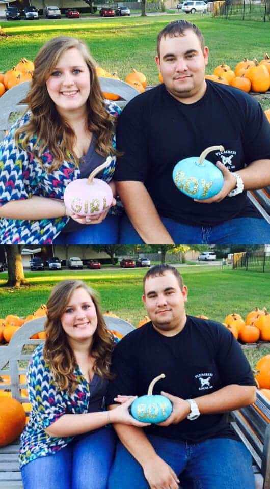 Couple uses pumpkins for their gender reveal.