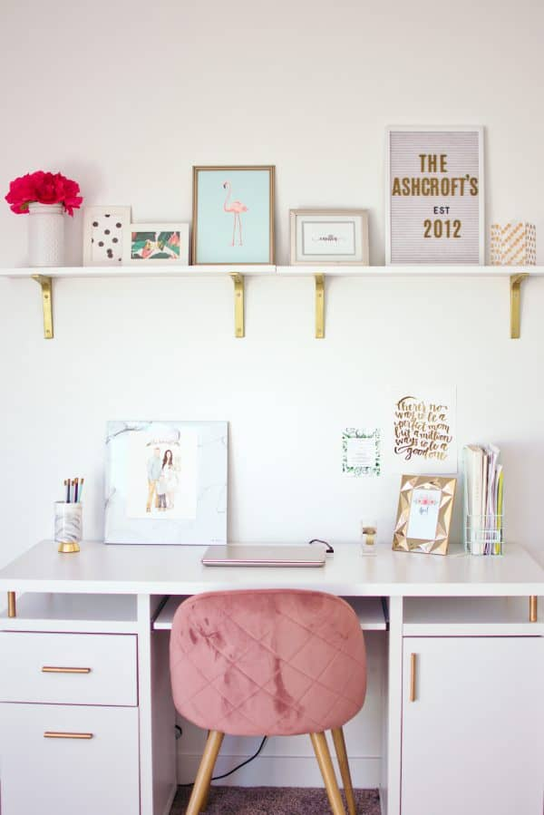 Chic desk decor for a modern home.