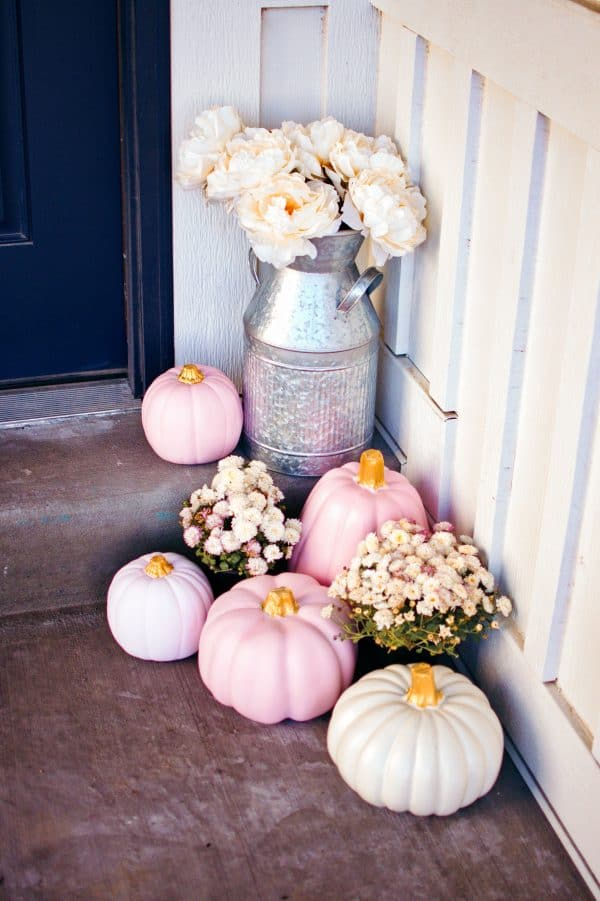 Pumpkins for front porch decorating ideas for fall.