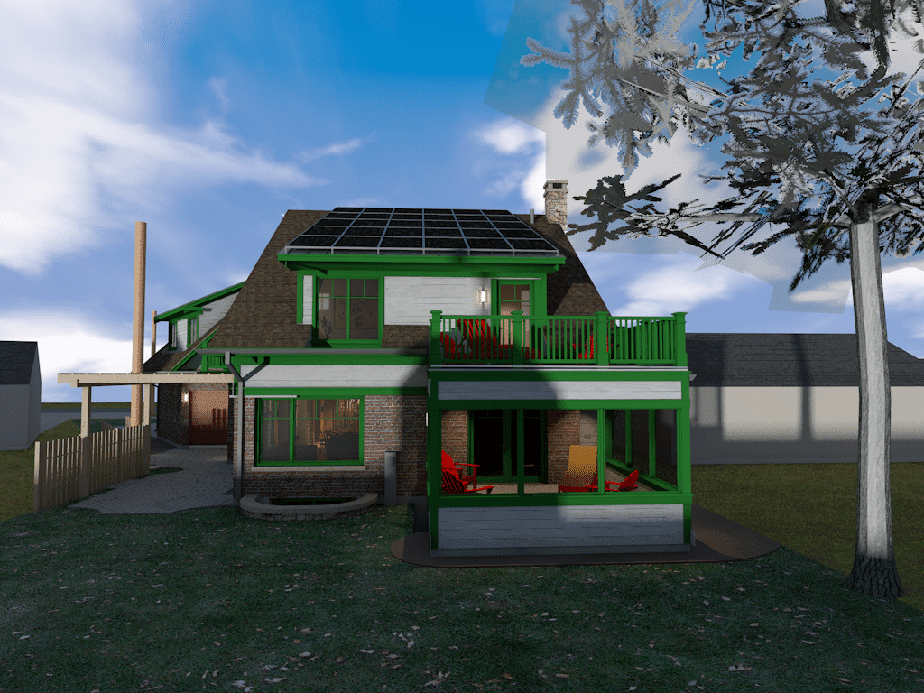 Rear view screen porch and pv array rendering