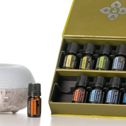 an essential oil diffuser with frankincense and 9 other essential oils