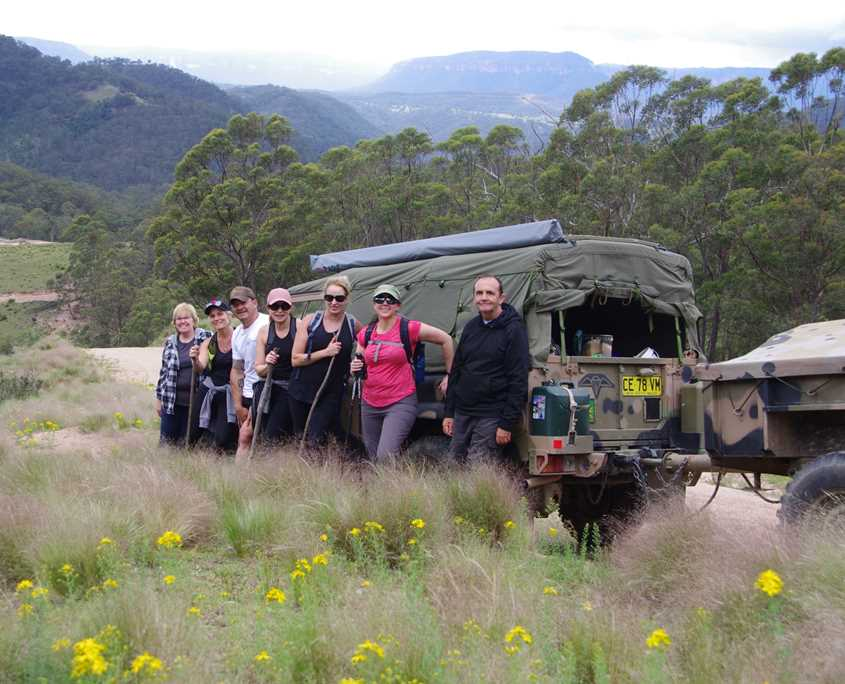 Team photo on the Six Foot Track over looking Megalong Valley on the Blue Mountains walk