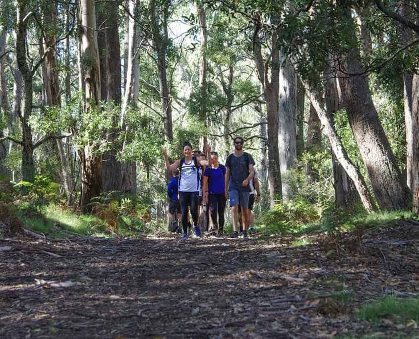 The team finishing off the first leg from Jenolan Caves to Jenolan Cottages