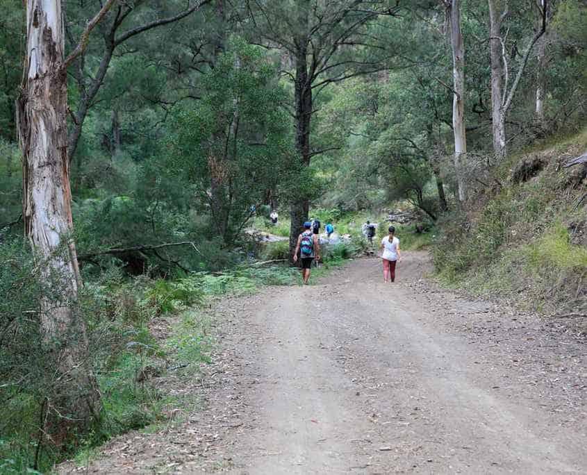 The team walking down to Alum Creek
