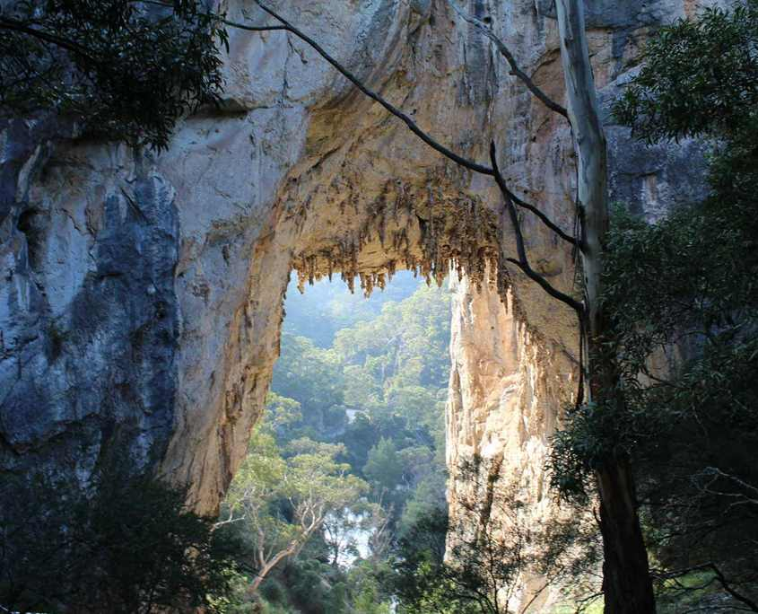 This is a photo of the Carlotta Arch at Jenolan Caves which is at the begining or end of the Six Foot Track