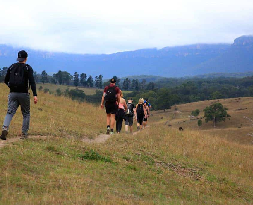 The Peak Potential Adventures team moving through the Megalong Valley towards Explorers Tree
