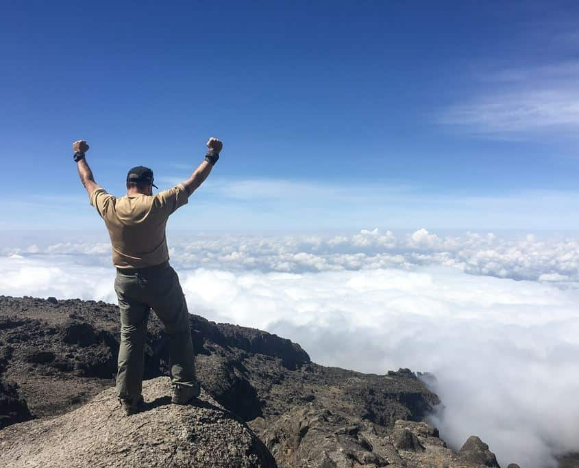 Standing above the clounds on Kilimanjaro