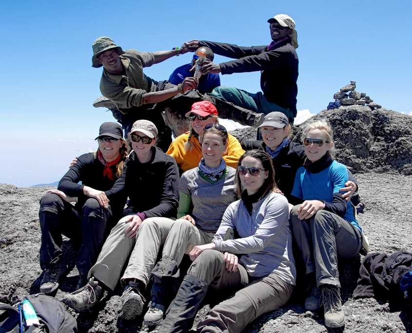 A team photo on top of Barranco Wall which is on Kilimanjaro