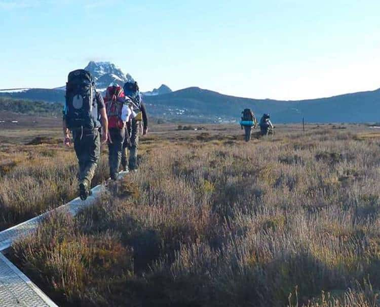 The team walking towards Cradle Mountain on the Overland Track in Tasmania