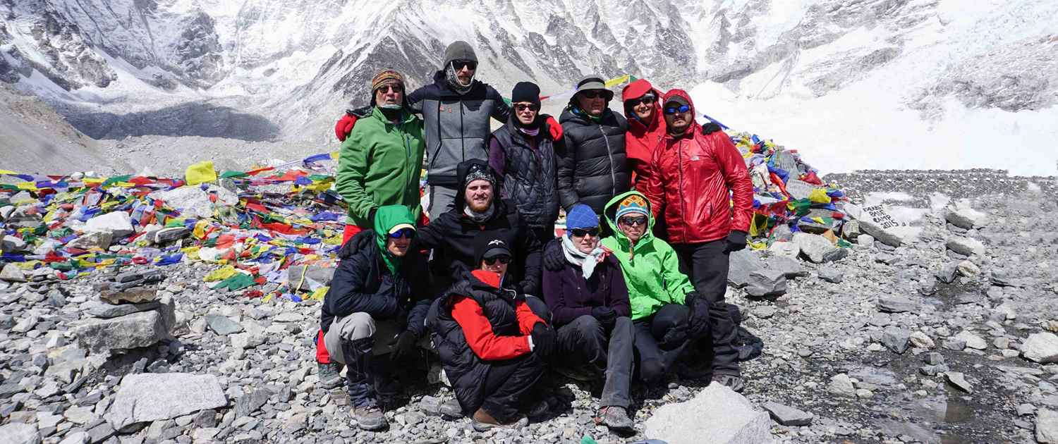 The Peak Potential Adventures team getting a group photo at Everest Base Camp in 2015