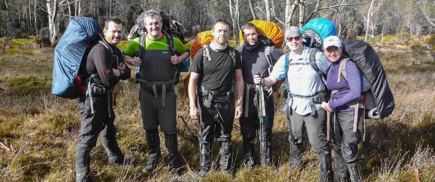 A team photo on the Overland Track in Tasmania