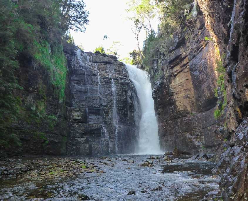 Beautiful Harnett Falls which is situated on the Overland Track in Tasmania
