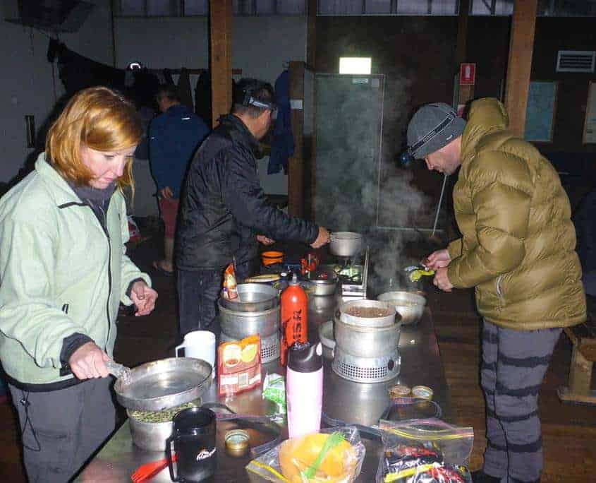 Cooking dinner on the Overland Track at Bert Nichols hut