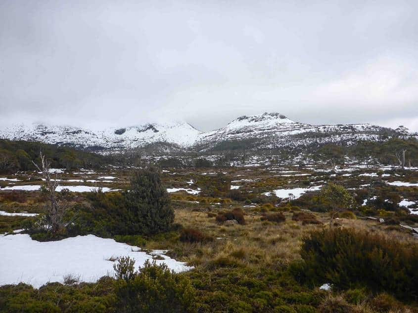 The Overland Track in Tasmania is a mountain winter wonderland during winter
