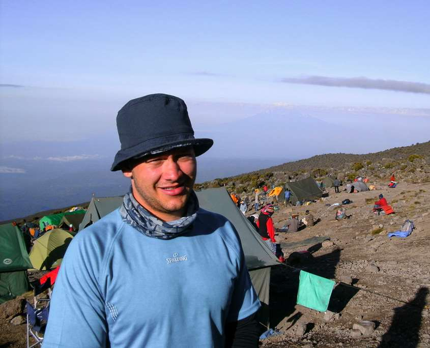 Luke over looking the clouds on Mount Kilimanjaro