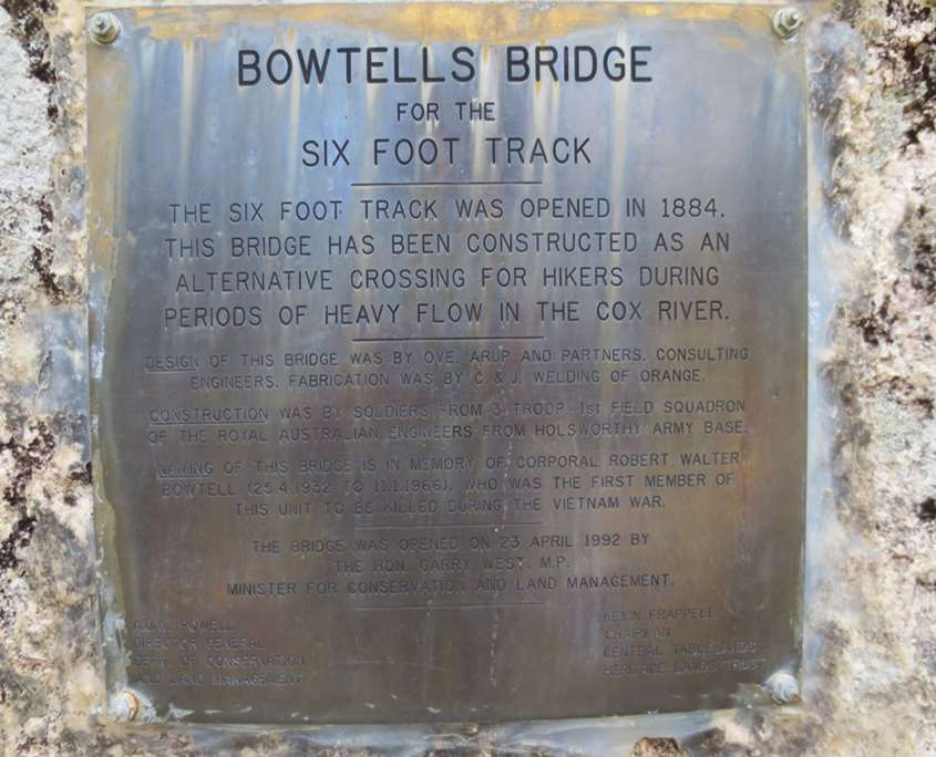 The offical opening plaque on Bowtells Swing Bridge