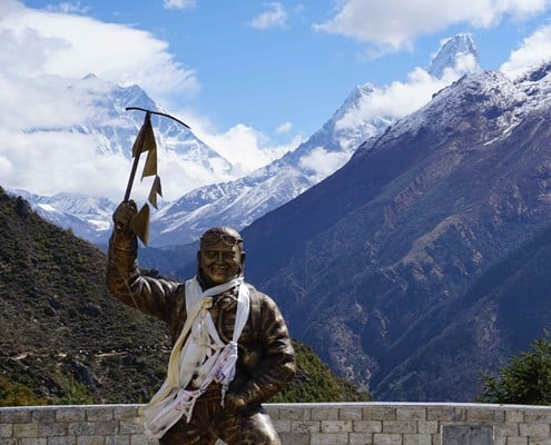 The memorial of Tenzing Norgay on the Everest Base Camp route
