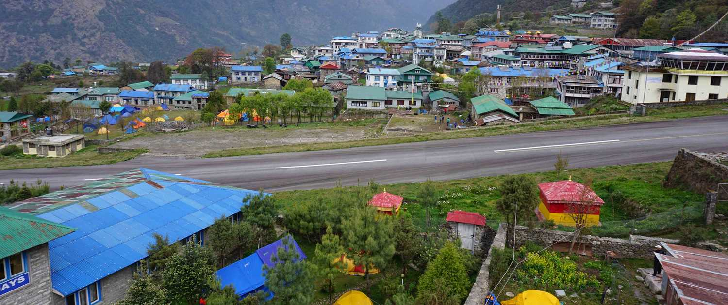 The mountain town of Lukla on the Everest Base Camp route