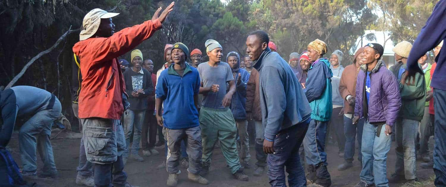 Doing the traditional Mt Kilimanajro clebration dance after the climb