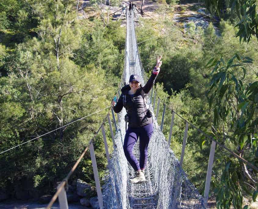 Crossing Bowtells Swing Bridge on the Six Foot Track