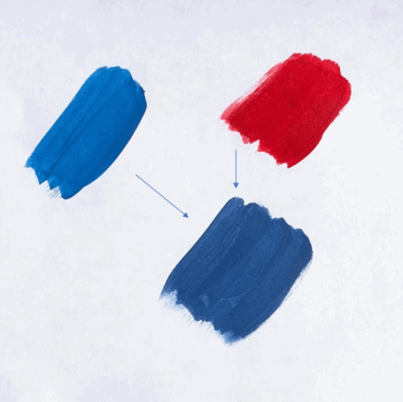 red and blue mix
