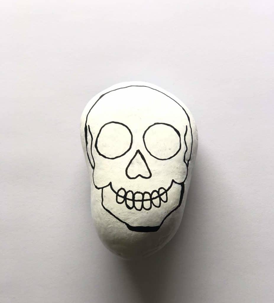sugar skull rock painting