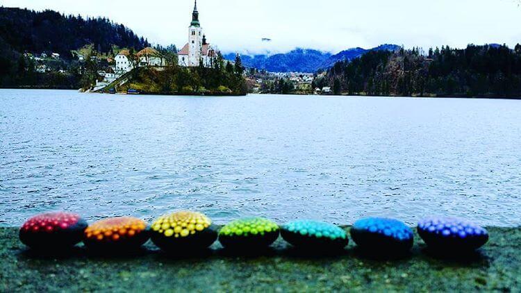 mandala stones with lake and mountains