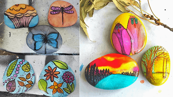 alcohol inks painted rocks
