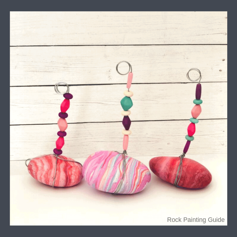 stone photo holders with beads