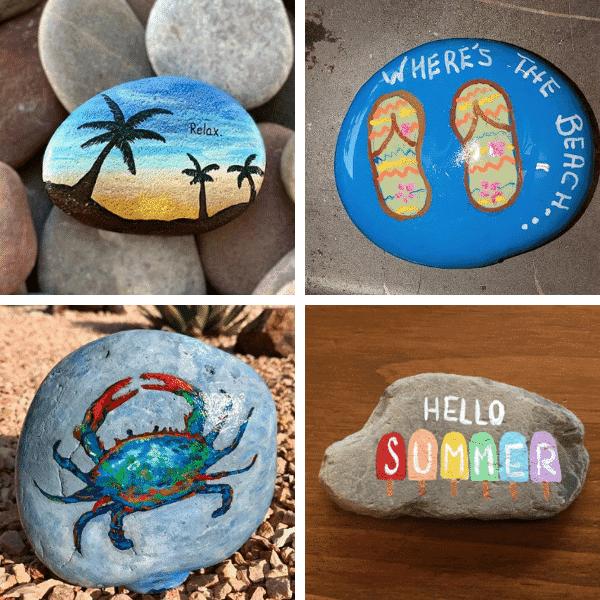 crab flip flops palm tree painted rocks