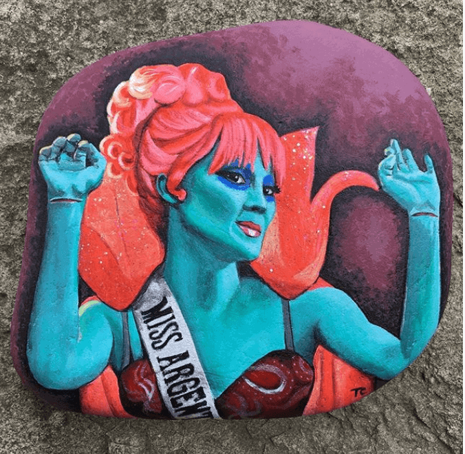 Miss Argentina painted rock