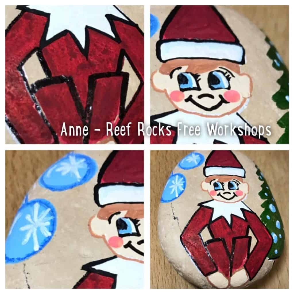 Elf on the Shelf painted rock