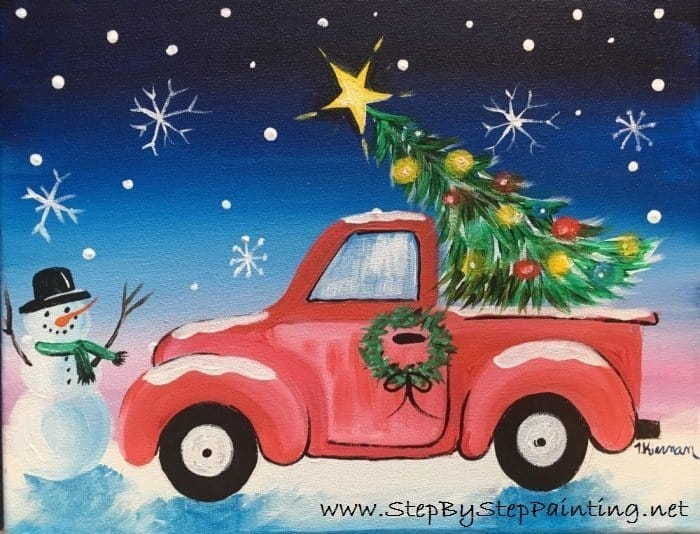 red christmas truck and tree painting