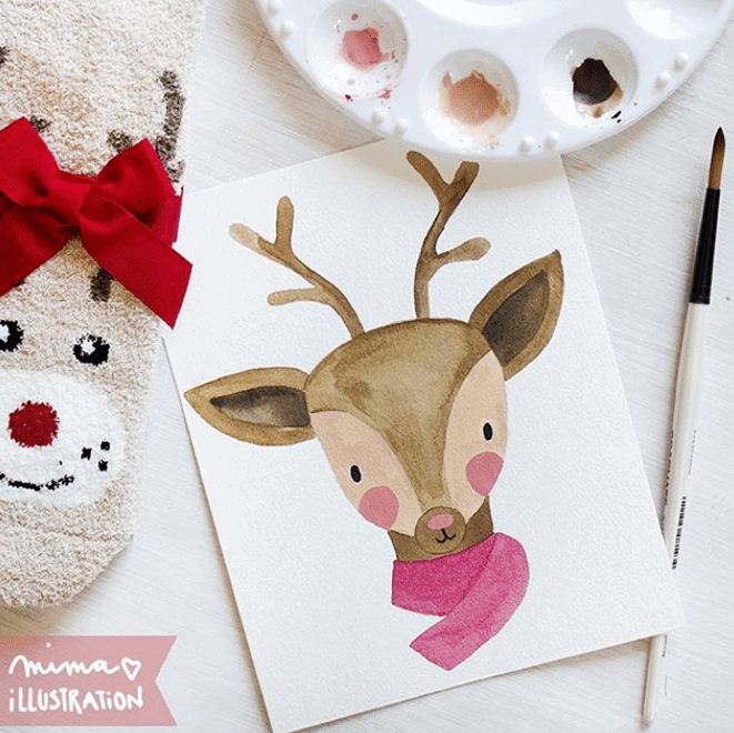 reindeer watercolor