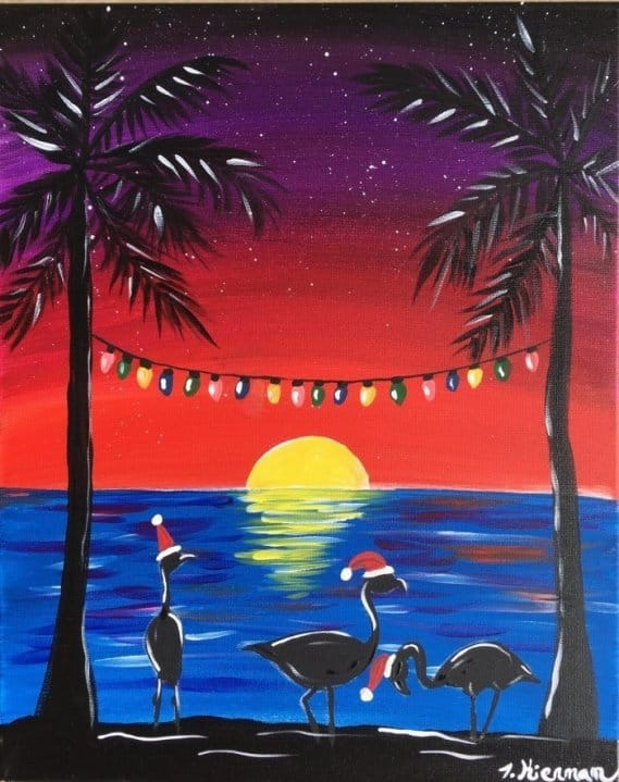 christmas flamingos painting