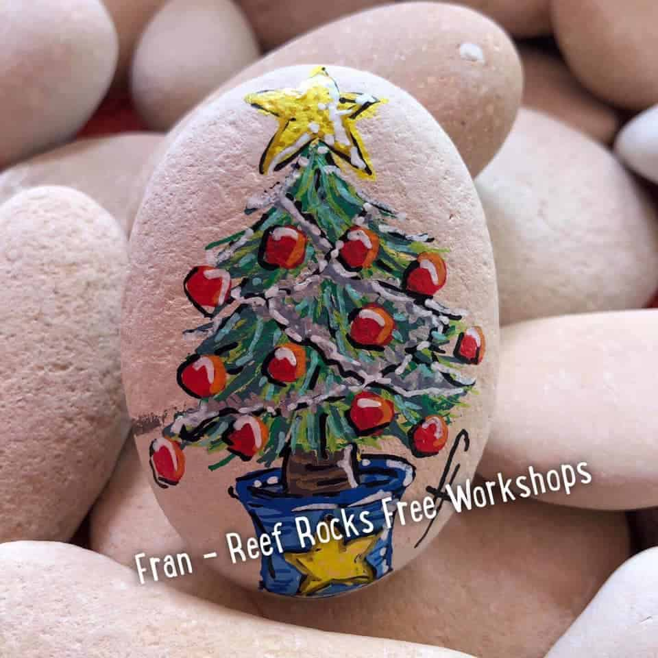 christmas tree painted rock