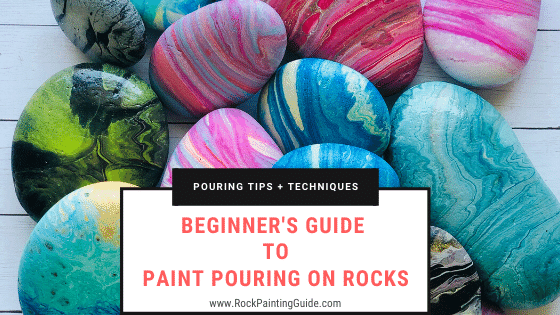paint pouring on rocks