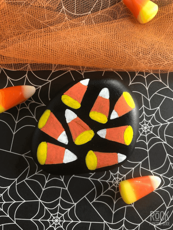 candy corns painted rock