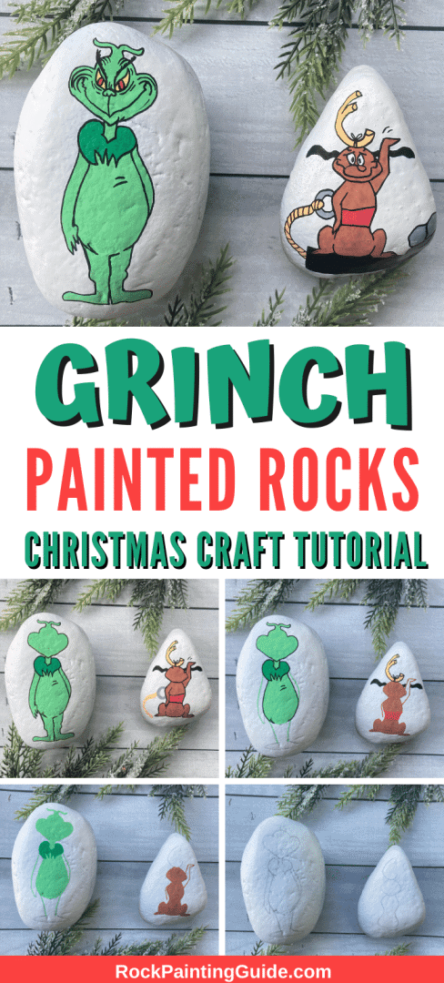 grinch and max painted rocks