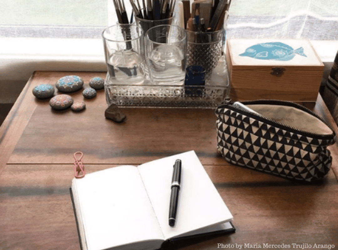 desk with art tools