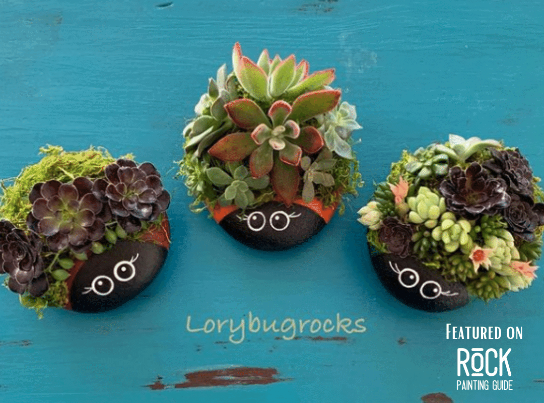 ladybug rock painting ideas with succulents attached
