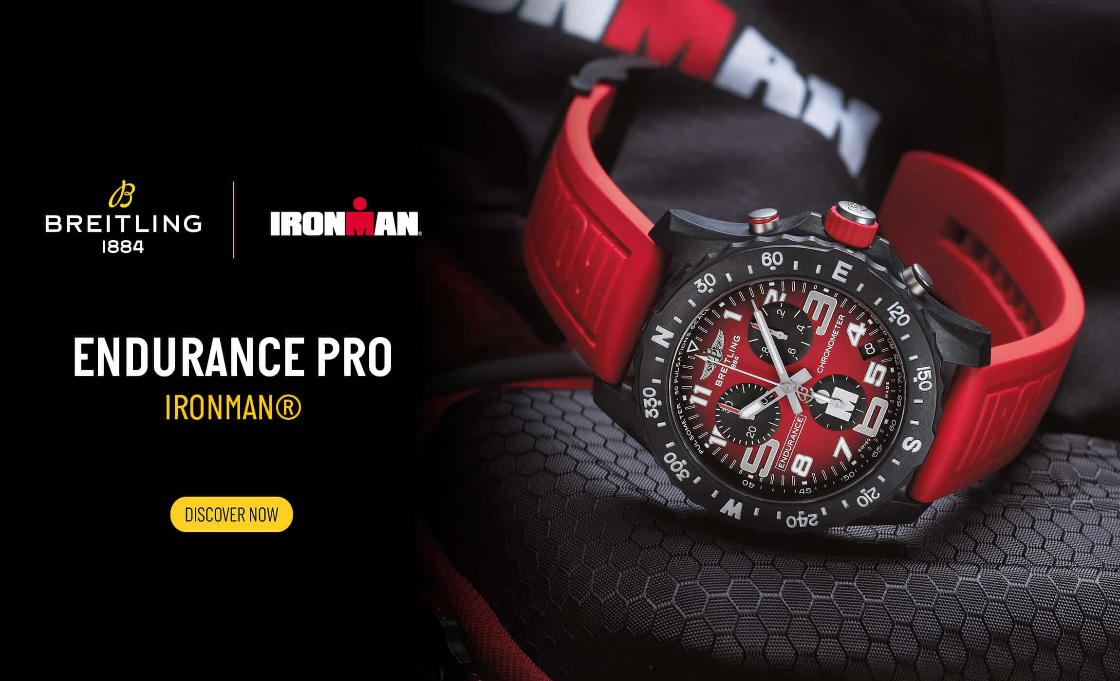 Breitling Endurance Pro IRONMAN SuperQuartz Chronograph Breitlight Red Dial & Red Rubber Strap 44mm Terence Lett